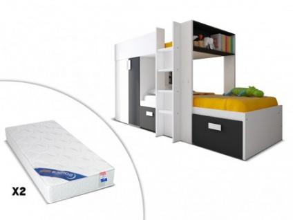 Set Etagenbett JULIEN + Lattenrost + 2 Matratzen - 2x90x190cm - Schwarz&Weiß