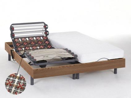 Relax-Kombination Latten und Tellermodule - Latex PANDORA II von DREAMEA - OKIN-Motoren - Eichenholz - 2x90x200 cm