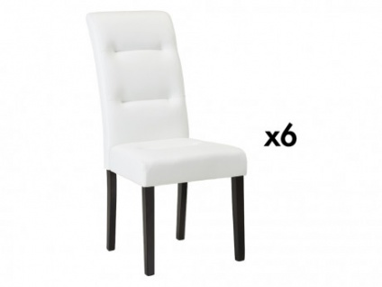 Stuhl 6er-Set Leder TADDEO - Weiß