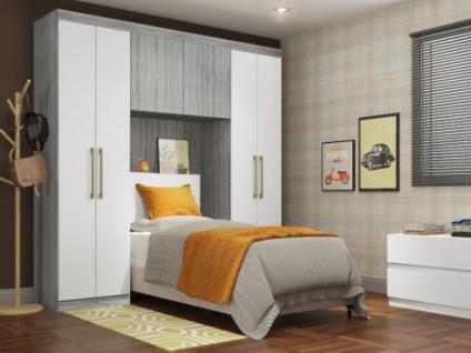Bettbrücke mit Kleiderschrank und Stauraum ANTERO - 6 Türen - Grau/Weiß