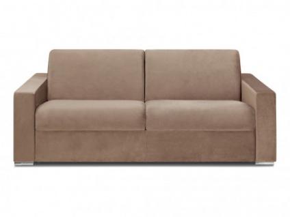 Schlafsofa 4-Sitzer Samt CALITO - Beige - Liegefläche: 160 cm - Matratzenhöhe: 14cm