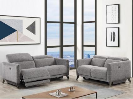 Couchgarnitur mit elektrischer Relaxfunktion 3+2 CEROLA - Stoff - Grau
