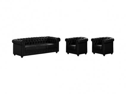 Couchgarnitur 3+1+1 CHESTERFIELD - Schwarz