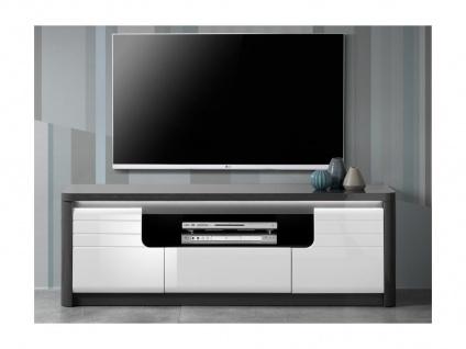 TV-Möbel mit LED-Beleuchtung PERCEPTION - 2 Türen & 1 Schublade - Grau & Weiß