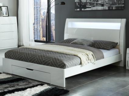 Bett mit Kopfteil, LED-Beleuchtung & Schublade HONORINE - 160x200cm