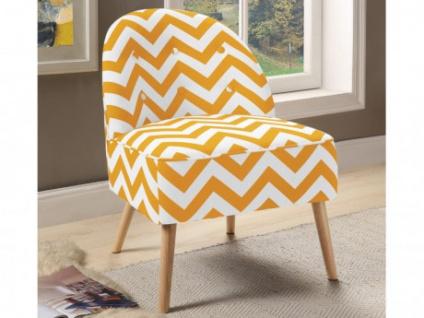 Sessel Stoff Holz CHANI - Gelb/Weiß