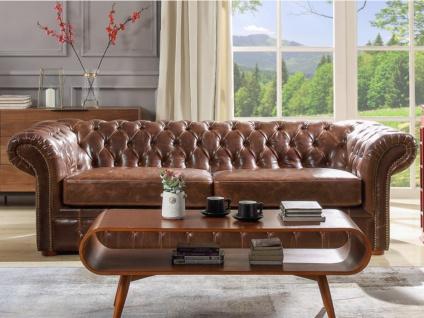 Chesterfield Ledersofa 2-Sitzer CLOTAIRE - Vintage Leder - Braun - Vorschau 2