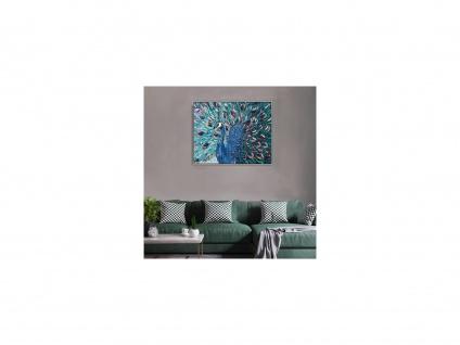 Ölgemälde handgemalt Pfauen-Motiv PARADE - 80 x 100 cm - Blau