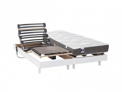 Matratzen elektrischer Lattenrost 2er-Set 100% Latex ANAKE - Weiß - 2x80x200 cm
