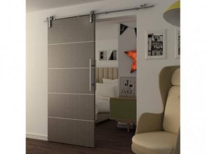 Schiebetür Stahl GAYAC - Höhe: 205 cm - Grau