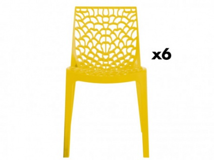 Stuhl 6er-Set Diadem - Kunststoff - Gelb