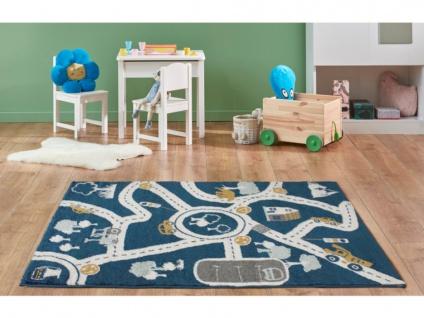 Kinderteppich ROADY - Polypropylen - 100 x 150 cm - Blau, Beige & Gelb