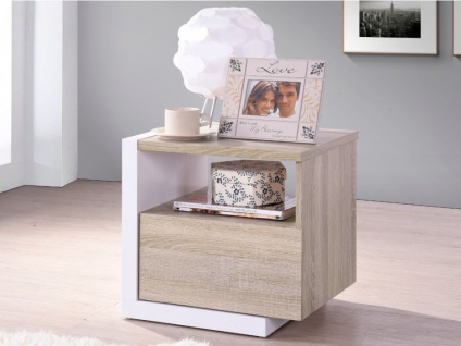 Nachttisch Napoli - 1 Schublade - Weiß/Eichenholzfarben