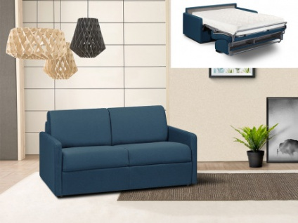 Schlafsofa 2-Sitzer Stoff CALIFE - Marineblau - Liegefläche: 120 cm - Matratzenhöhe: 18cm