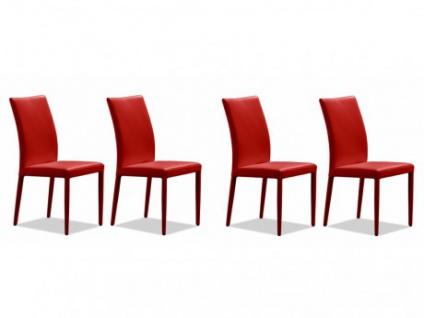 Stuhl Leder 4er-Set Atalante - Rot