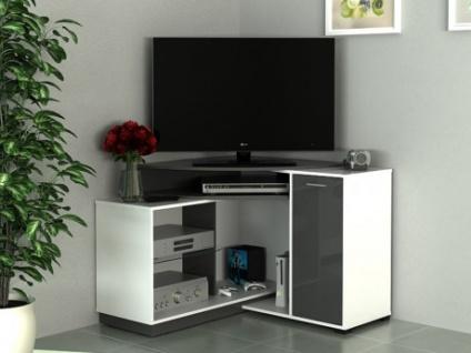 Eck-TV Möbel AMAEL - Weiß & Anthrazit
