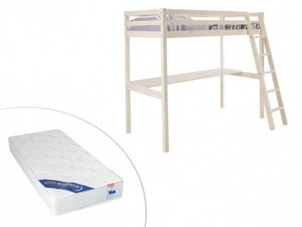 Set Hochbett Massivholz mit Schreibtisch GEDEON + Lattenrost + Matratze ZEUS - 90x190cm