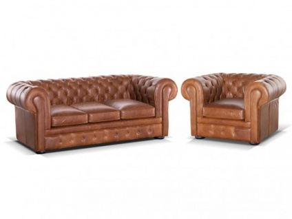 Chesterfield Ledergarnitur mit Bettfunktion & Matratze London 3+1 - Vintage Look