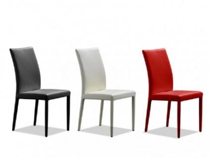 Stuhl Leder 6er-Set Atalante - Weiß