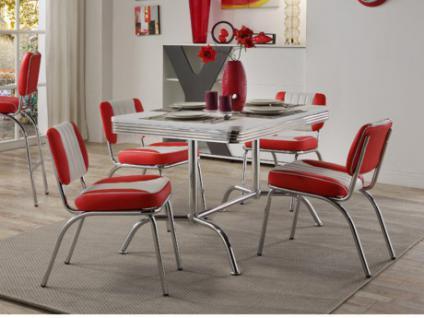 Essgruppe Metall SANDERS: Esstisch + 4 Stühle