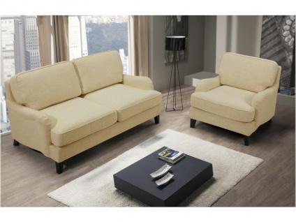 Couchgarnitur 2+1 MOANDA - Stoff - Beige