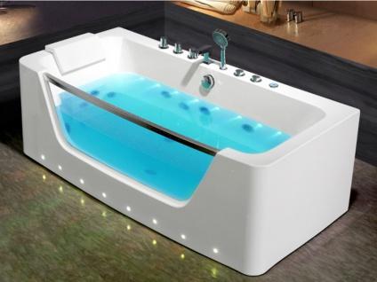 LED-Whirlpool Badewanne DYONA - 1 Person - 206 L - Weiß - Vorschau 2