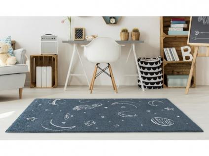 Kinderteppich CONSTELI - Polypropylen - 100 x 150 cm - Blau & Weiß