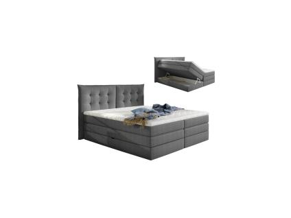Boxspringbett Stoff mit Topper PLAISIR - 160 x 200 cm - Grau