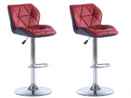 Barhocker 2er-Set CALVIN - Höhenverstellbar - Rot