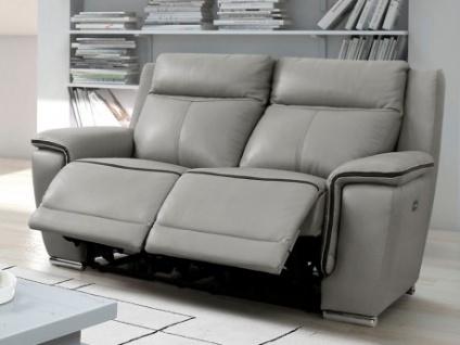 Relaxsofa Leder elektrisch 2-Sitzer Paosa - Grau mit anthrazitgrauer Ziernaht