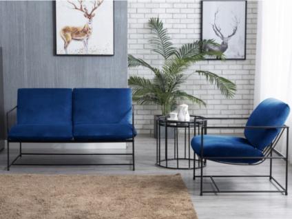 Sofa-Garnitur 2+1 SURANA - Samt - Dunkelblau