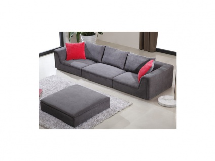 Ecksofa Stoff Houston - Niedrige Sitzhöhe: 24 cm - Grau - Vorschau 5