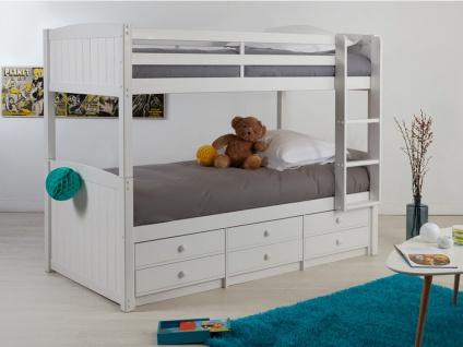 Etagenbett Stapelbett Massivholz ANCHISE + Lattenrost - 2x90x190cm