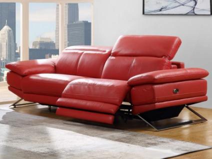 Relaxsofa Leder 3-Sitzer PUNO - Rot