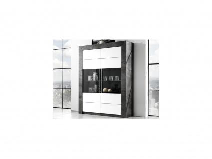 Vitrinenschrank ESSIA - 2 Türen - Schiefer-Optik & Weiß