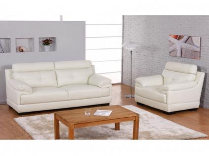 Couchgarnitur Leder 3+1 MANUELA - Büffelleder - Elfenbein