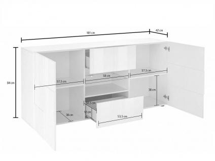 Sideboard mit LED-Beleuchtung CALISTO - Weiß lackiert - Vorschau 1