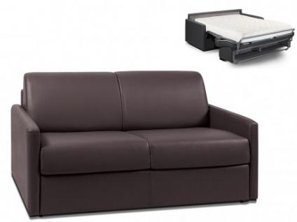 Schlafsofa 2-Sitzer CALIFE - Braun - Liegefläche: 120 cm - Matratzenhöhe: 18cm