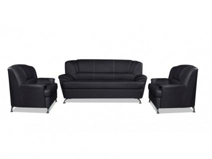 Couchgarnitur 3+1+1 Focus - Schwarz