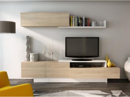 TV-Wand mit Stauraum MONTY - Eichenholzfarben/Weiß