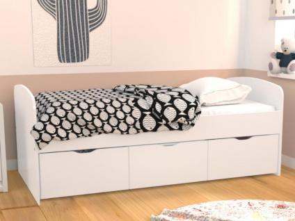 Bett LOUANE - 2 Schubladen & 1 Bettkasten - 90 x 190 cm - Weiß - Vorschau 5
