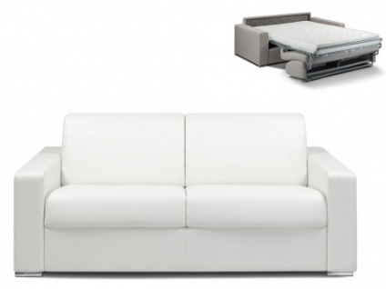 Schlafsofa 3-Sitzer CALITO - Weiß - Liegefläche: 140 cm - Matratzenhöhe: 14cm