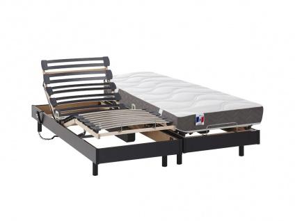 Matratzen elektrischer Lattenrost 2er-Set 100% Latex ANAKE - Schwarz - 2x80x200 cm