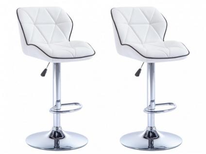 Barhocker 2er-Set CALVIN - Höhenverstellbar - Weiß