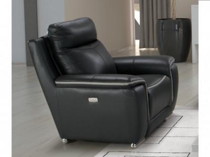 Relaxsessel Leder elektrisch Paosa - Anthrazit mit hellgrauer Ziernaht