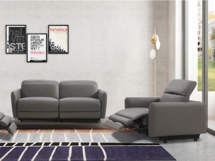 Relaxgarnitur elektrisch 3+1 CLEOPHEE - Leder - Taupe