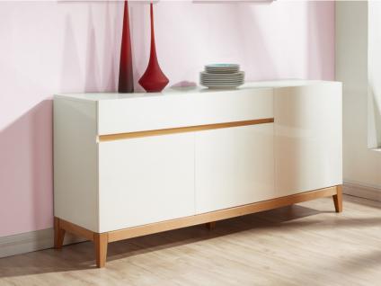 Sideboard Hochglanz SEDNA - 3 Türen + 1 Schublade - Weiß-Holzfarben
