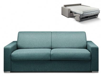 Schlafsofa 4-Sitzer Stoff CALITO - Blau - Liegefläche: 160 cm - Matratzenhöhe: 22cm