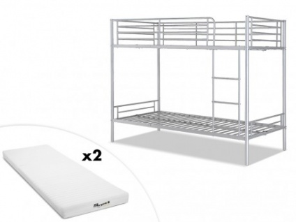 Set Etagenbett DUOTIS II + Lattenrost + 2 Matratzen - 2x90x190cm - Silber