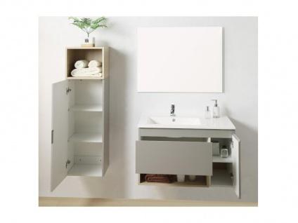 Komplettbad KLADE - Unterschrank + Waschbecken + Spiegel + Regal - Taupe lackiert - Vorschau 5